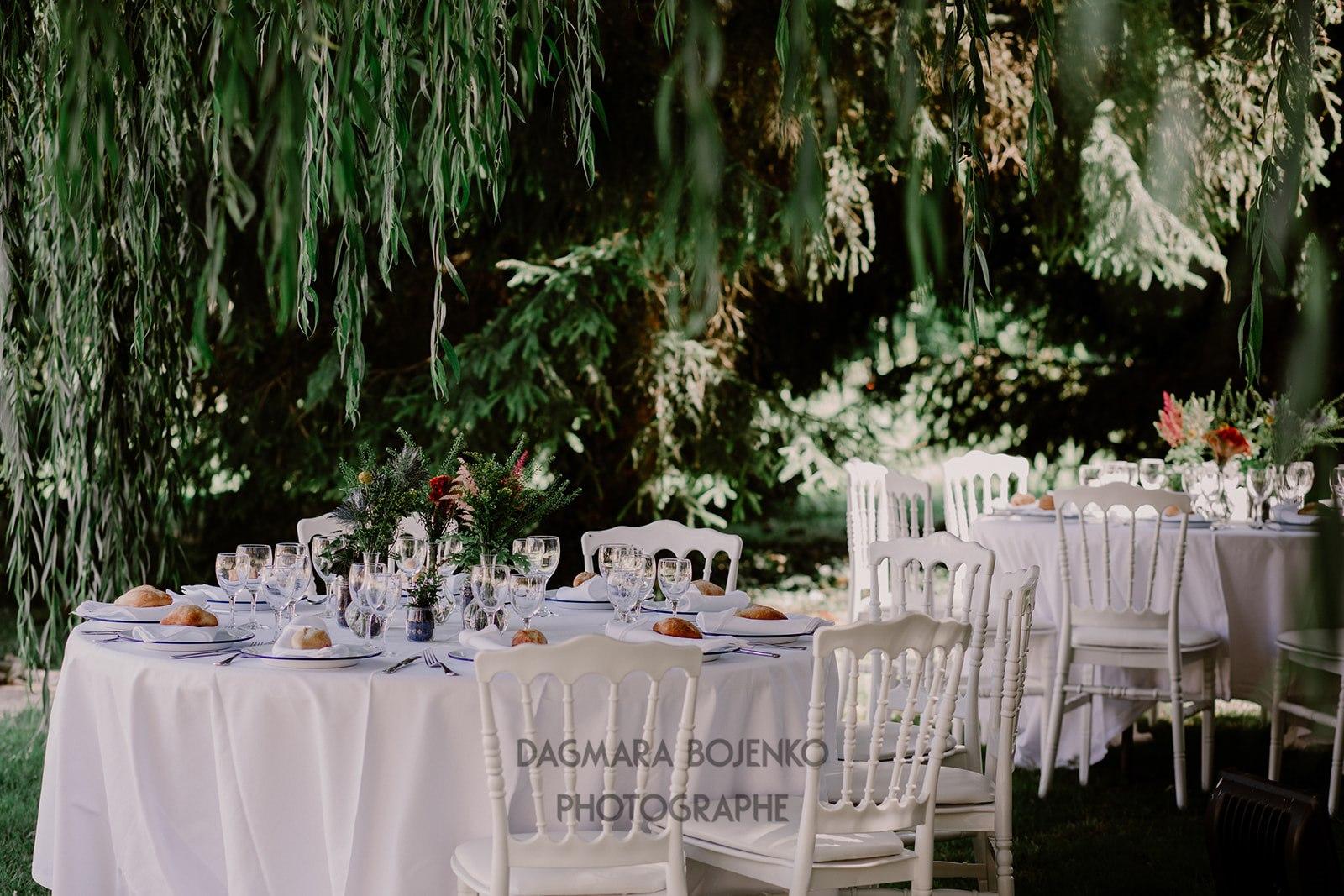 Réception de mariage sous le saule pleureur à La Thibaudière par Dagmara Bojenko